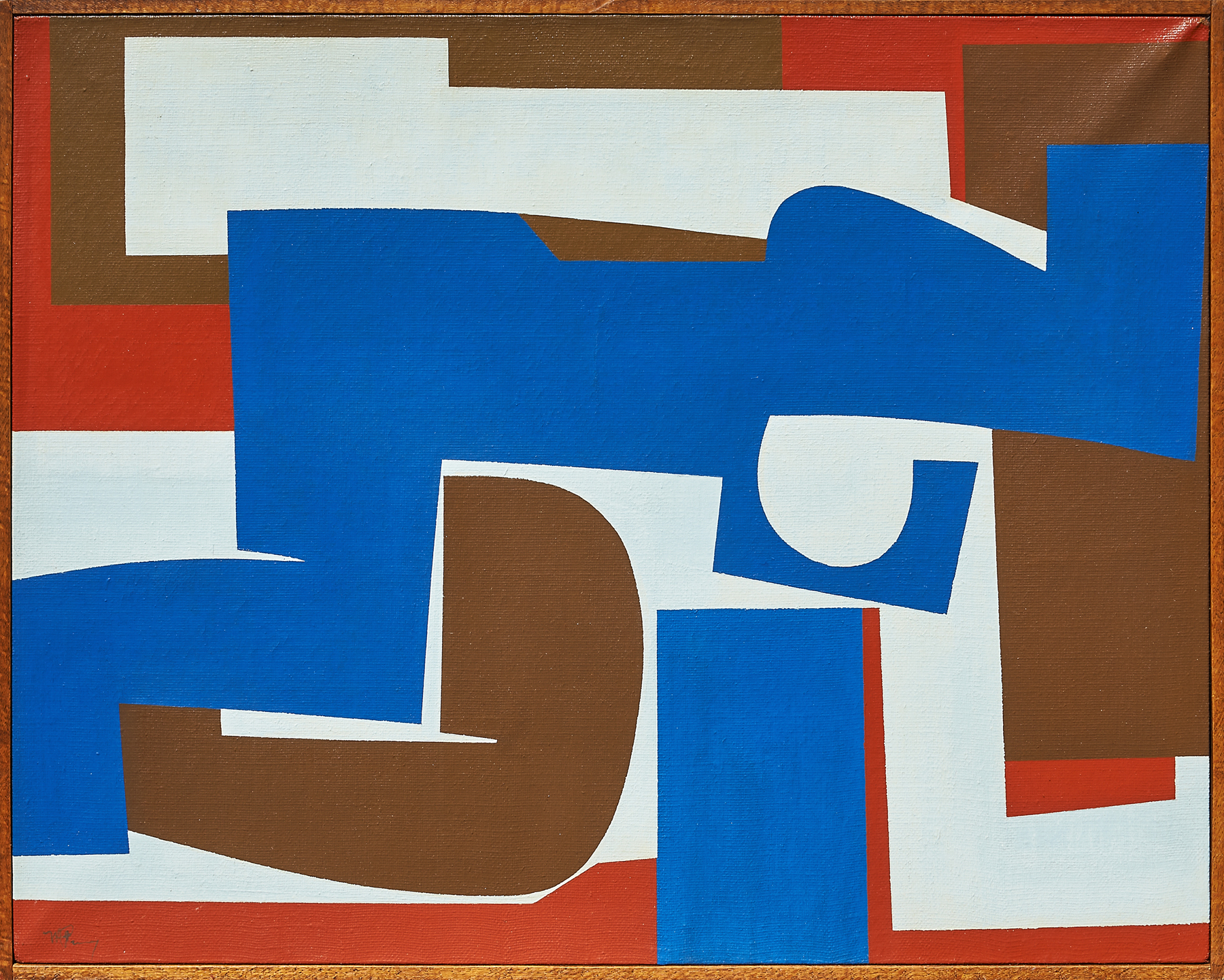 Nuvae, a 1968 abstract canvas by Mavis Pusey, features large blocks of royal blue, milk chocolate brown, red, and white paint.