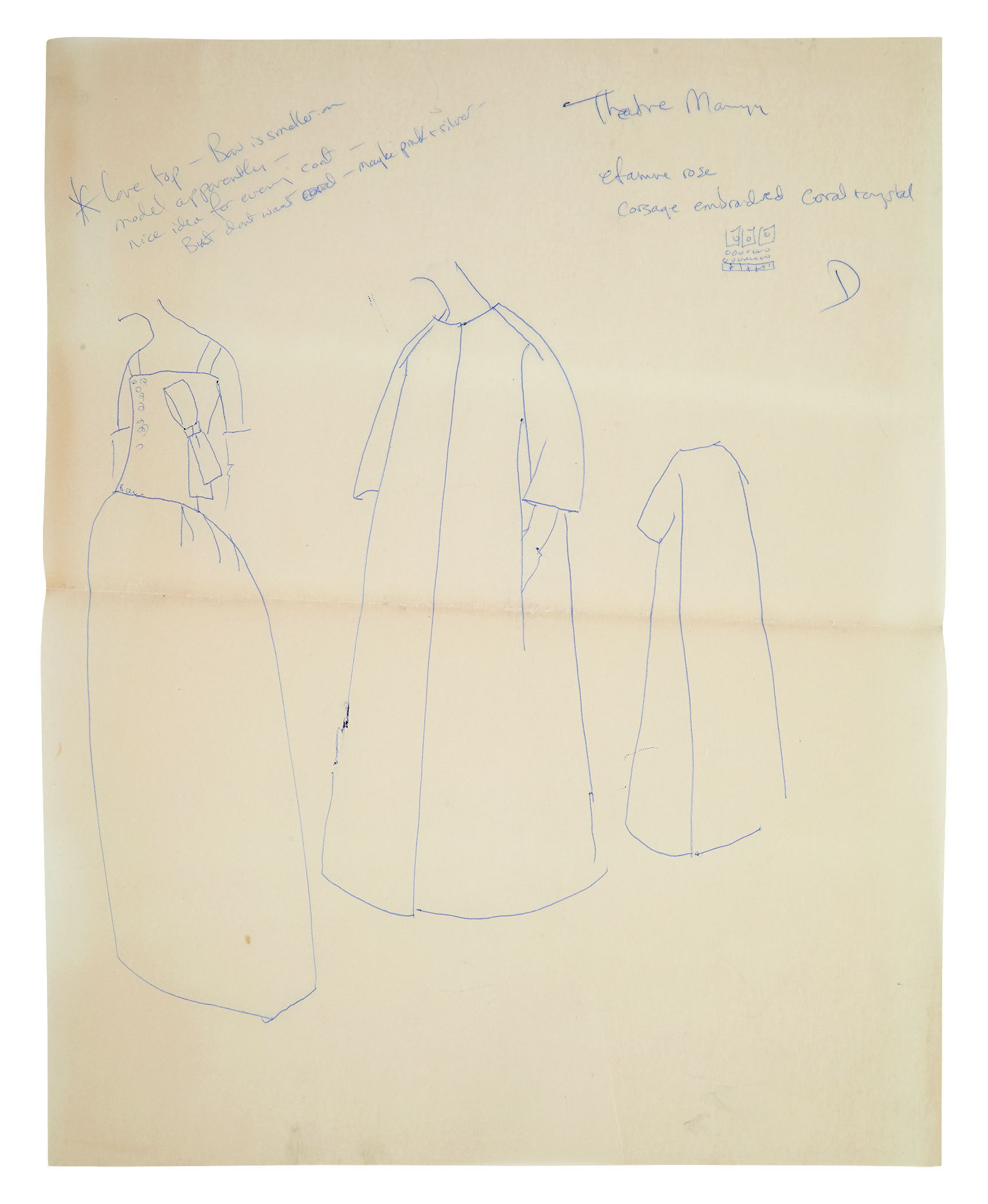Fashion drawing, with handwritten notes, done by First Lady Jackie Kennedy in the early 1960s. It shows three headless figures.