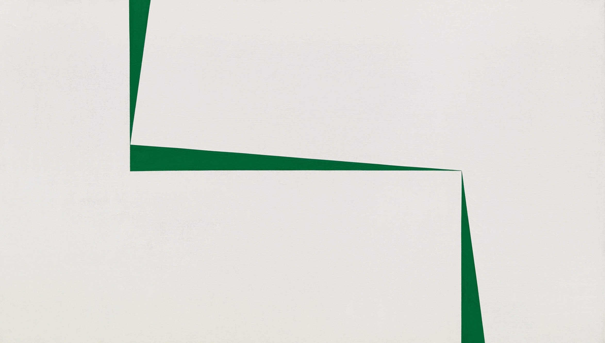 "Carmen Herrera's ""Blanco y Verde"", a mid-1960s abstract canvas. It depicts  three long, skinny triangles of green paint cutting across a white background. It sold at Sotheby's in March 2019 for $2.9 million, a record for the artist."