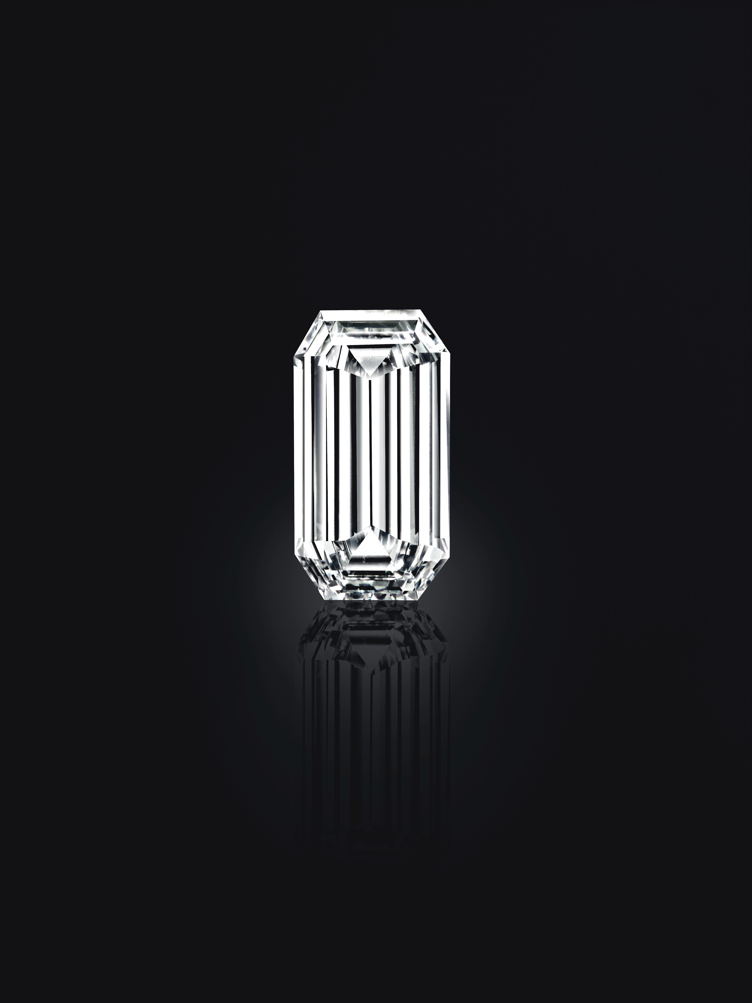 The Mirror of Paradise 52.58-carat Golconda diamond, shot on a black ground, head on, to showcase the rectangular cut of the stone.