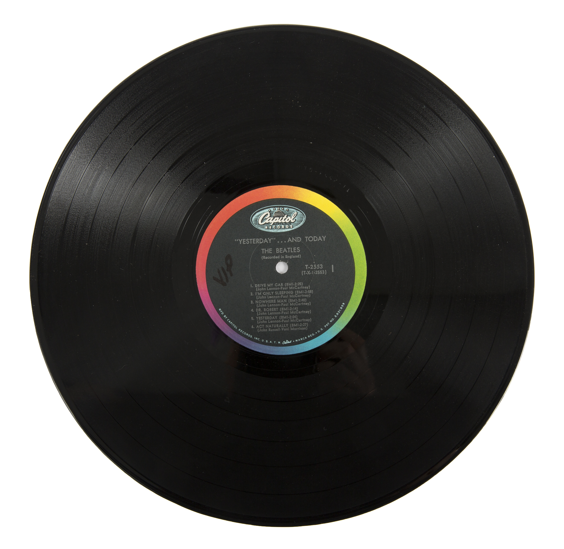 "An image of the vinyl record from John Lennon's personal copy of the Beatles ""Butcher"" album cover. He did take it out and play it."