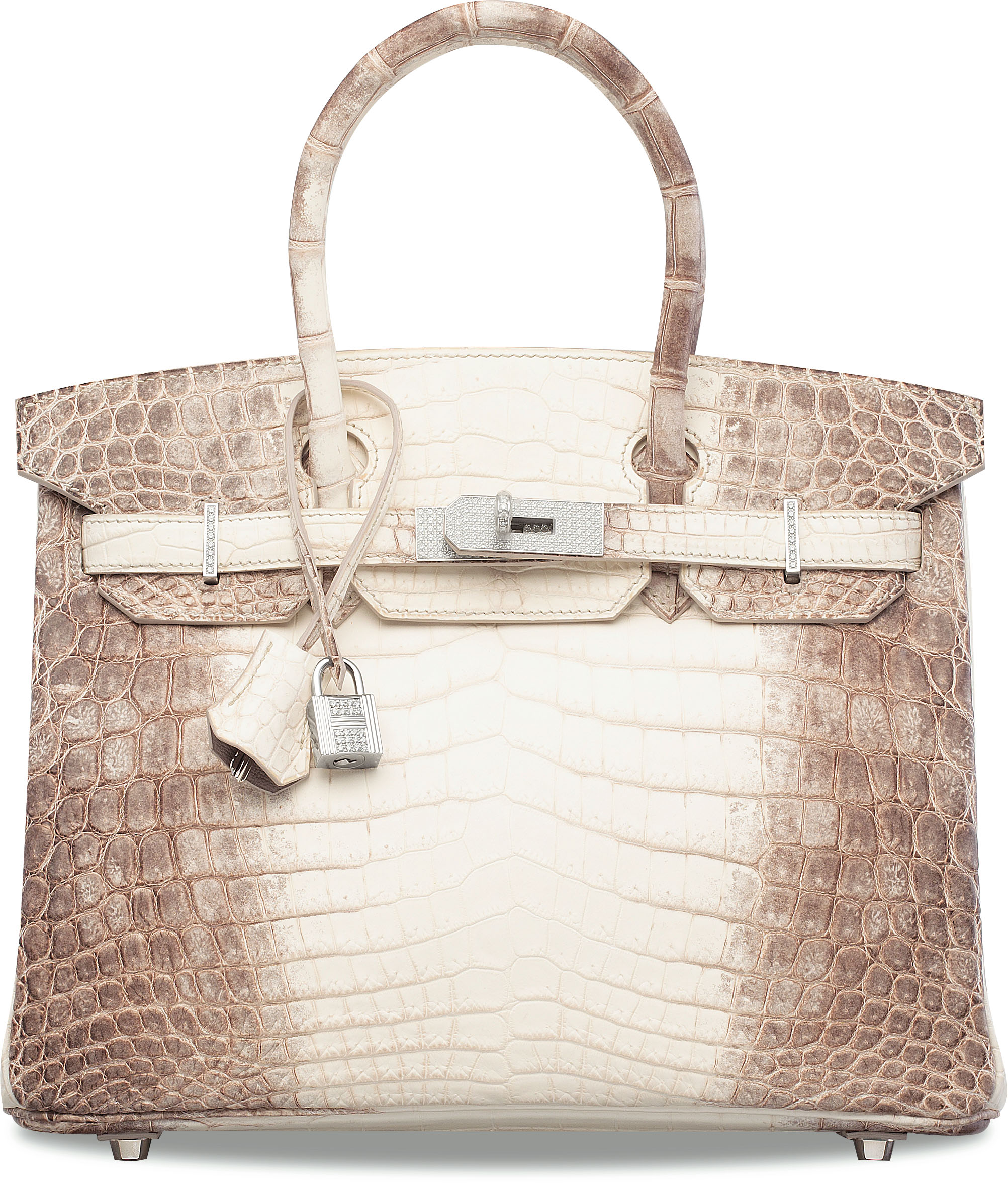 A 2011 Himalaya Niloticus crocodile Hermès Birkin 30 handbag with 18k white gold and diamond hardware. As of November 2019, it holds the world auction record for any handbag.