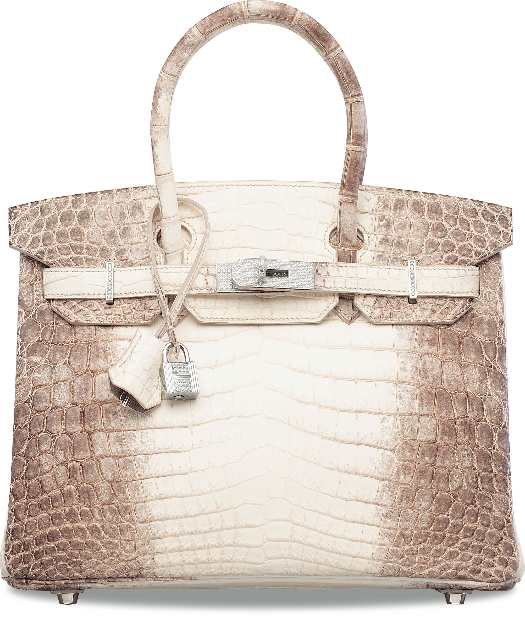 A 2011 Himalaya Niloticus crocodile Hermès Birkin 30 handbag with 18k white gold and diamond hardware. As of November 2019, it holds the world auction record for any handbag.