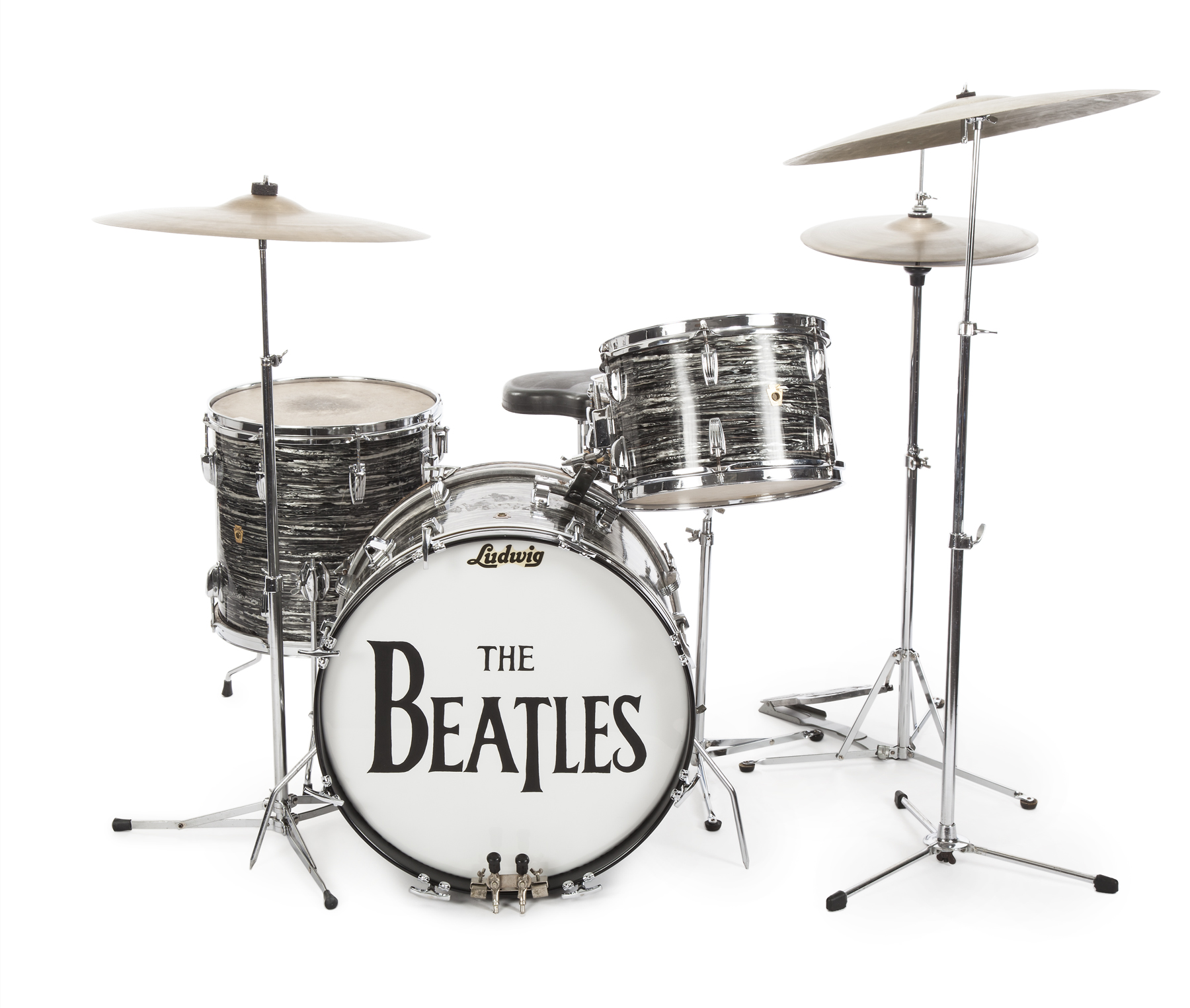 A Ludwig oyster black pearl three-piece drum kit that Ringo Starr played on stage and television, with the Beatles, in the early 1960s. It holds the world auction record for any drum kit.