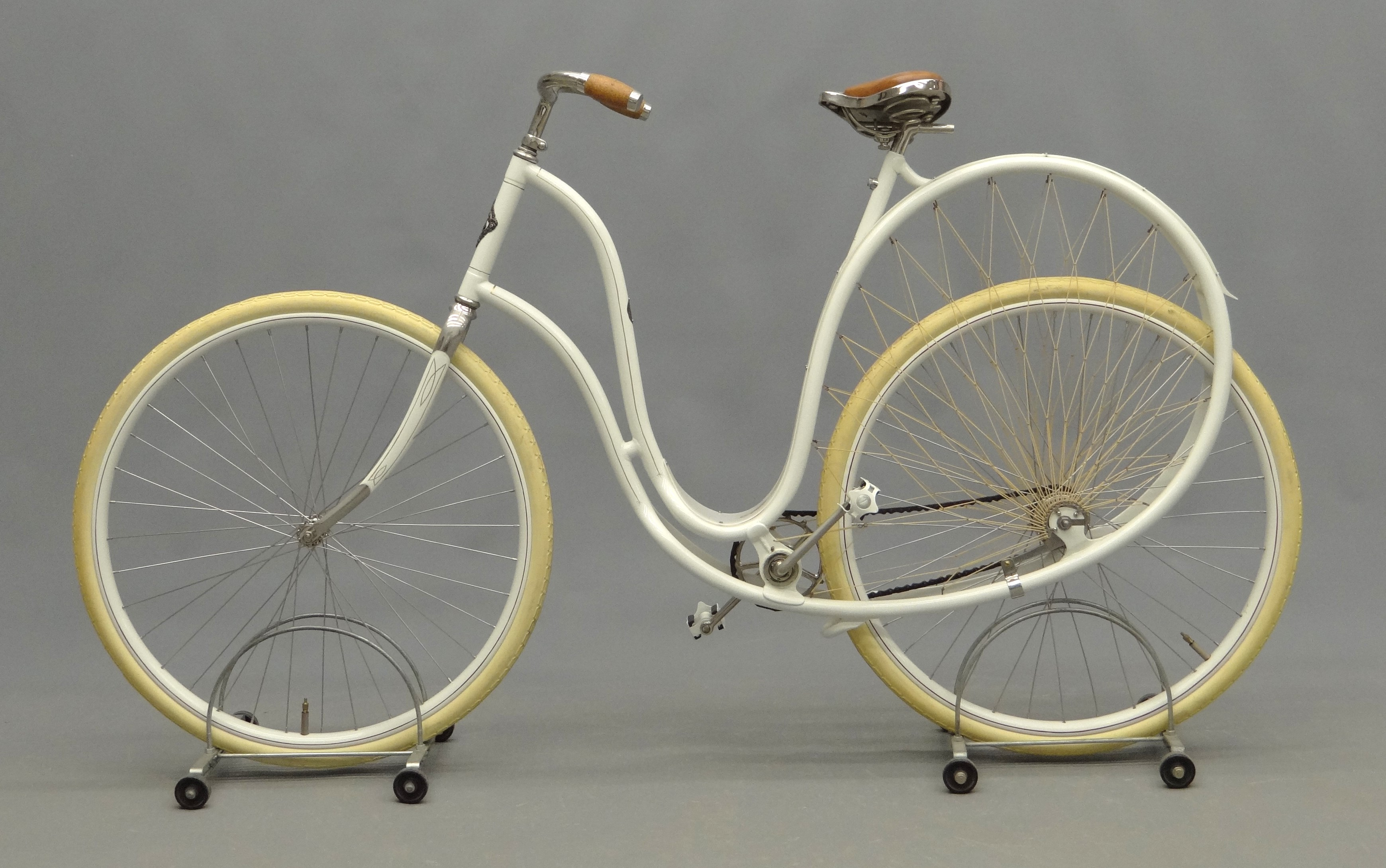 "An 1898 Cygnet ""Swan"" Ladies pneumatic safety bicycle, shown in full profile."