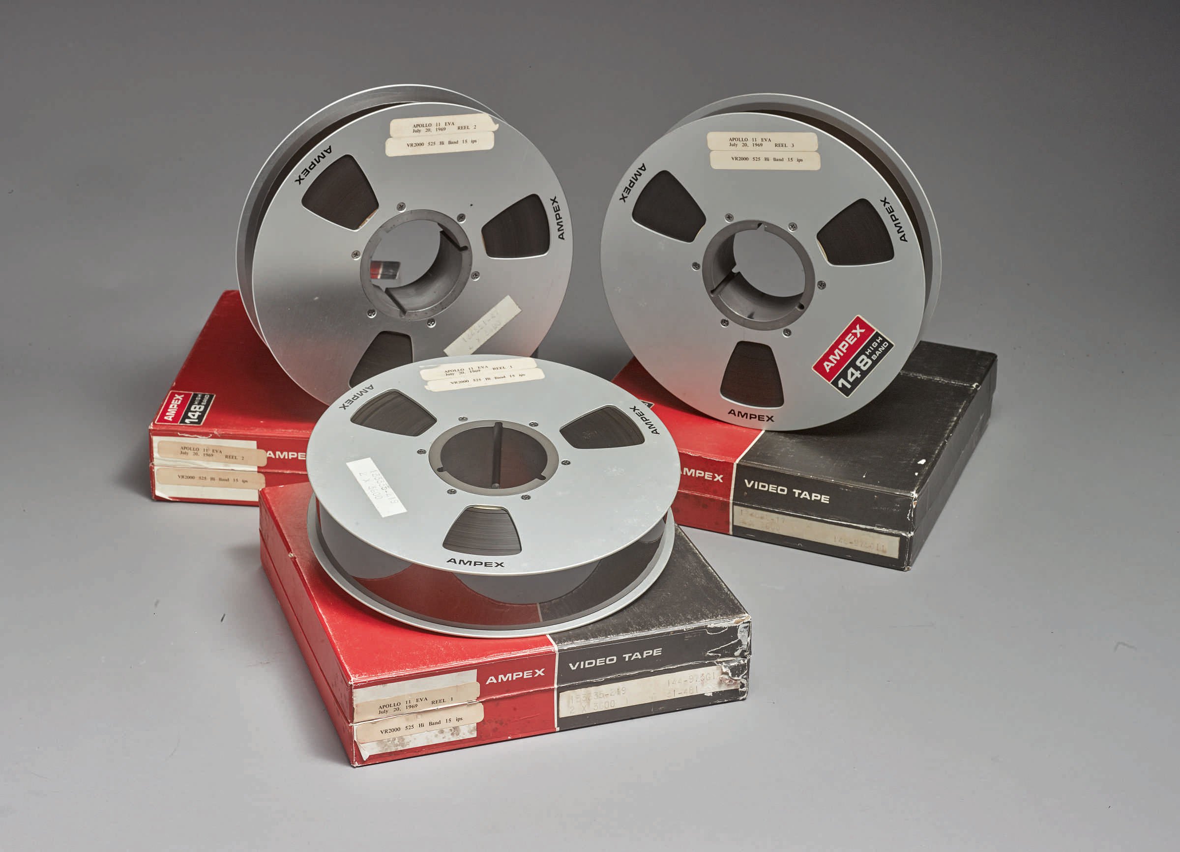 A trio of ex-NASA Apollo 11 moon walk tapes sold for a record $1.8 million at Sotheby's on July 20, 2019.