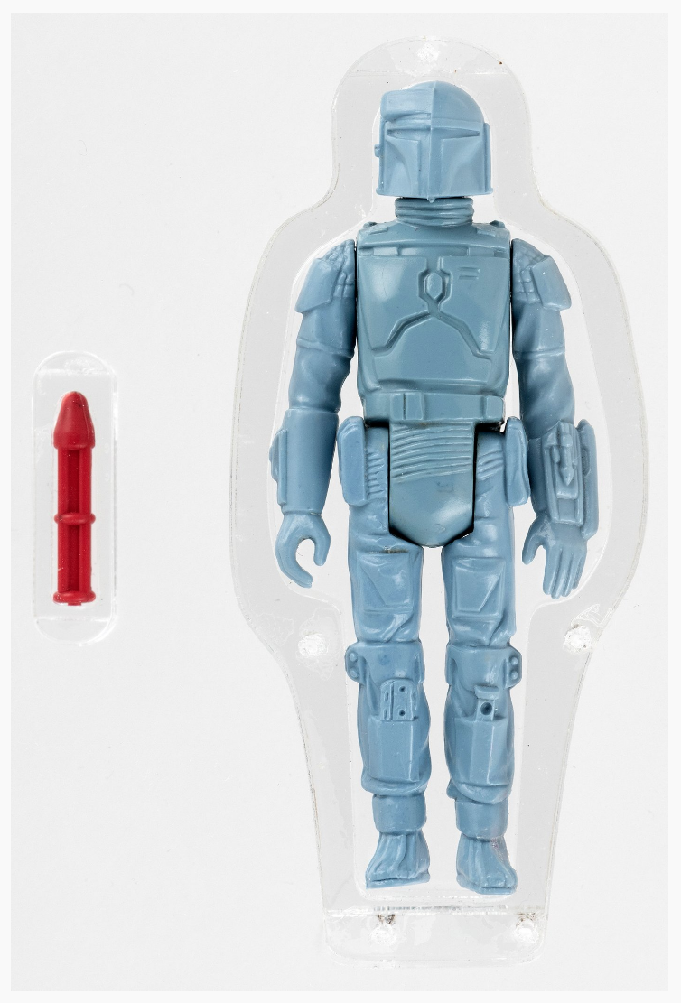 A circa 1979 Boba Fett rocket-launching prototype, which became the first Star Wars action figure to cross the $100k threshold at auction. It set the record in July 2019 only to see it broken in November 2019 by a different, fully painted, scarcer version of the prototype.
