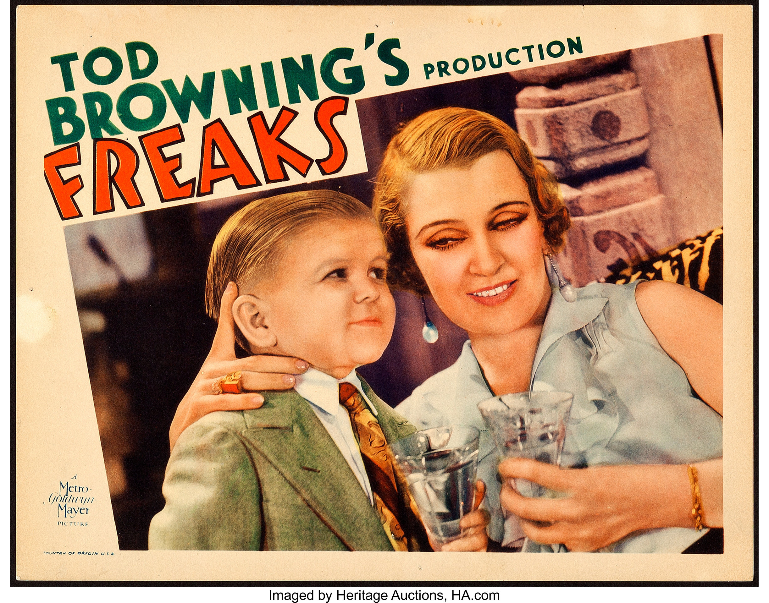 A scarce lobby card from Tod Browning's notorious 1932 film, Frreaks, sold at Heritage Auctions for $15,600.