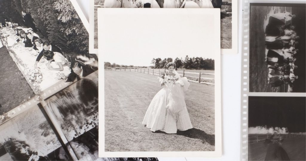 A collection of photos and negatives from the 1953 wedding of Jacqueline Bouvier and John F. Kennedy in Newport, Rhode Island.