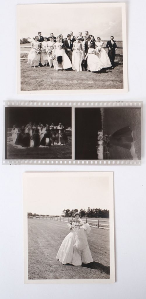 Another arrangement of the Kennedy wedding images in the lot, shown with negatives.
