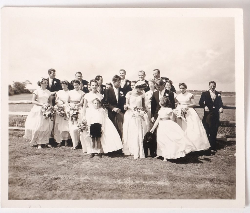 A group shot of the wedding party for John F. Kennedy and Jacqueline Bouvier shot in September 1953 at Hammersmith Farm.