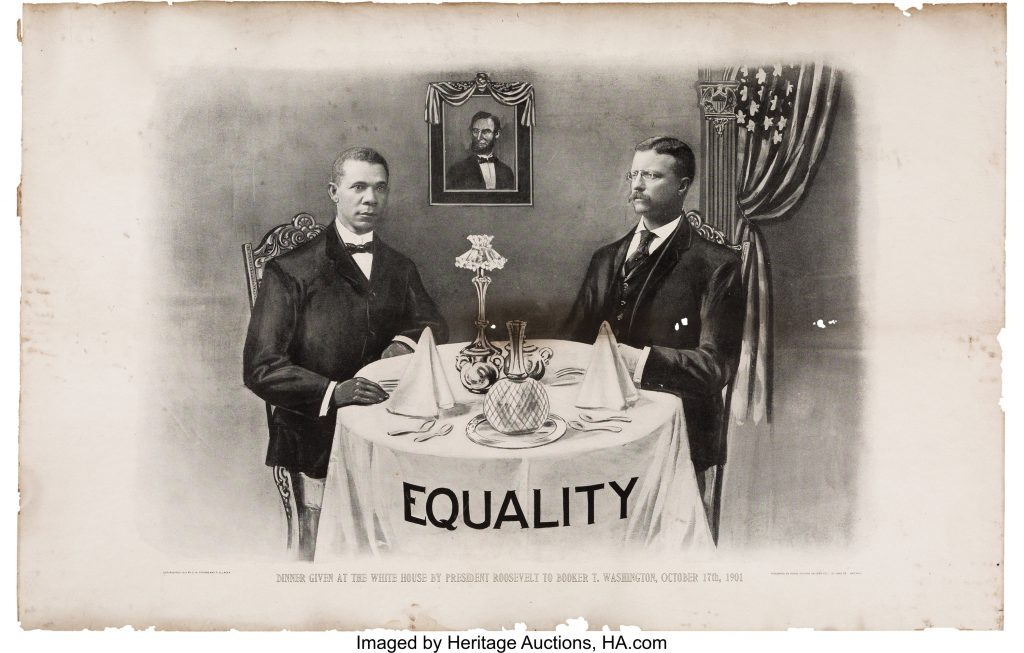 A 1903 print commemorating a dinner President Theodore Roosevelt hosted for Booker T. Washington at the White House.