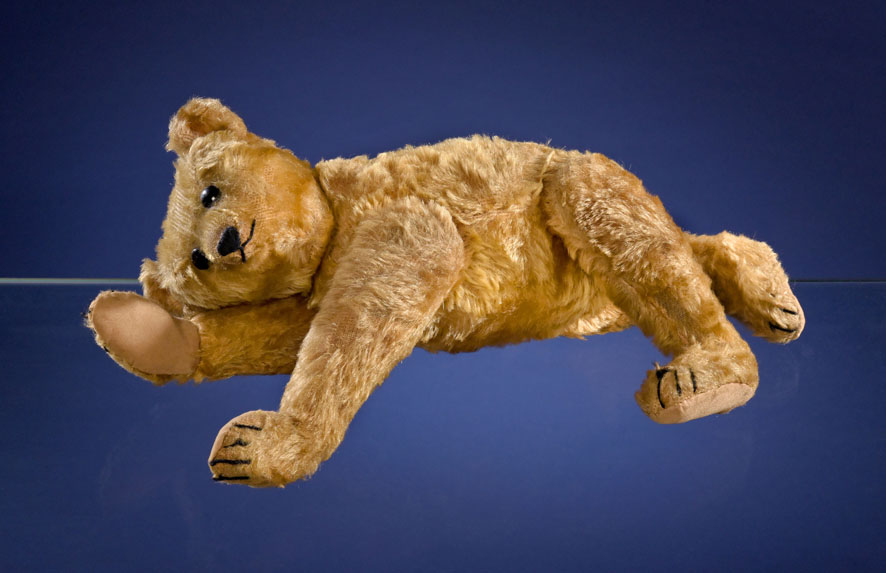 A Steiff PB28 rod bear, measuring 15 and 3/4 inches tall and created circa 1903 or 1904, proving it is just as poseable as it was when it left the factory.