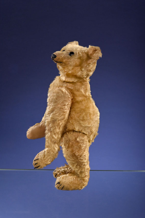 A Steiff PB28 rod bear, measuring 15 and 3/4 inches tall and created circa 1903 or 1904, shown standing and in profile.