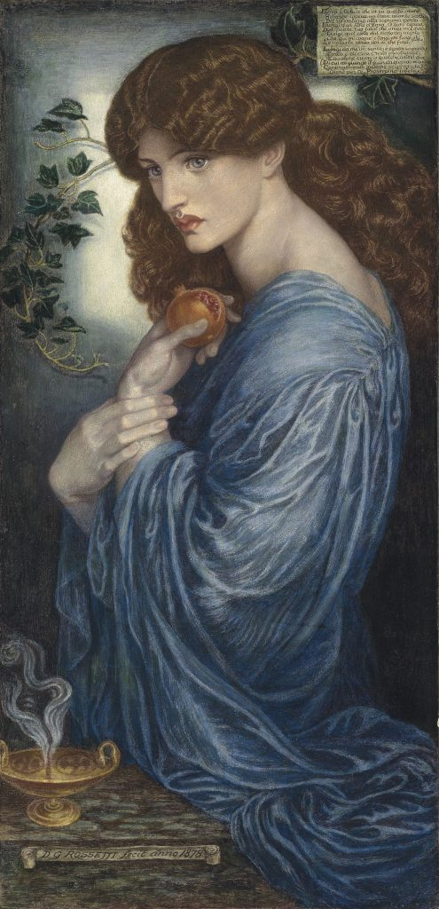 Proserpine, an 1878 watercolor rendition by Dante Gabriel Rossetti. Jane Burden Morris modeled as the goddess.