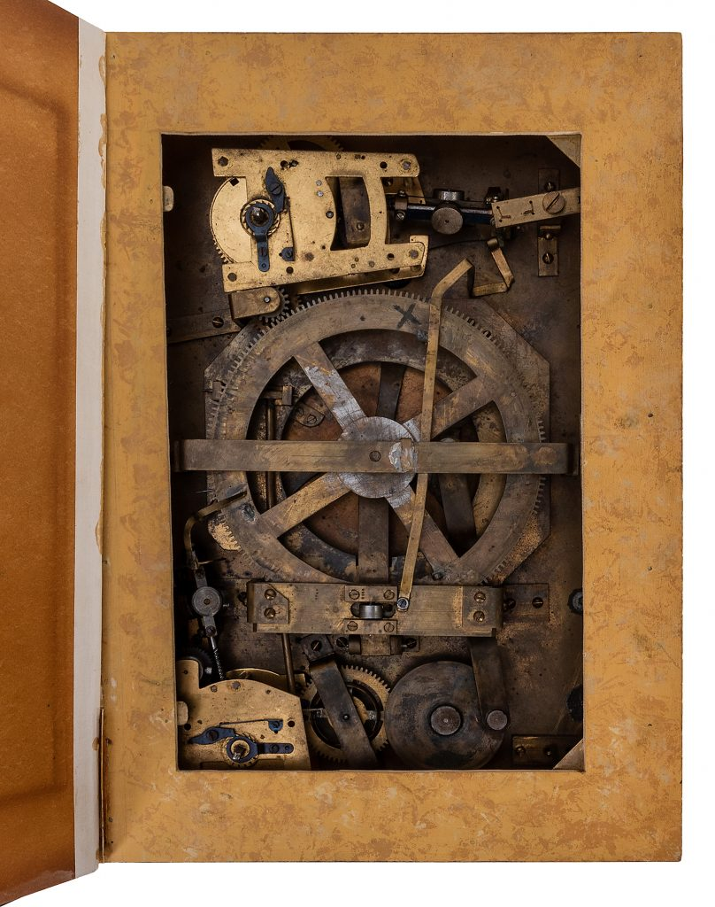 Clockwork mechanisms, hidden inside a faux book, made the jaw of the Willmann talking skull automaton move.