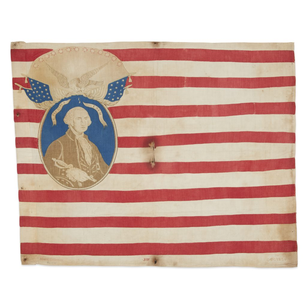 A Know Nothing American flag, dating to December 1858. It features an image of George Washington in the space where the canton would go.