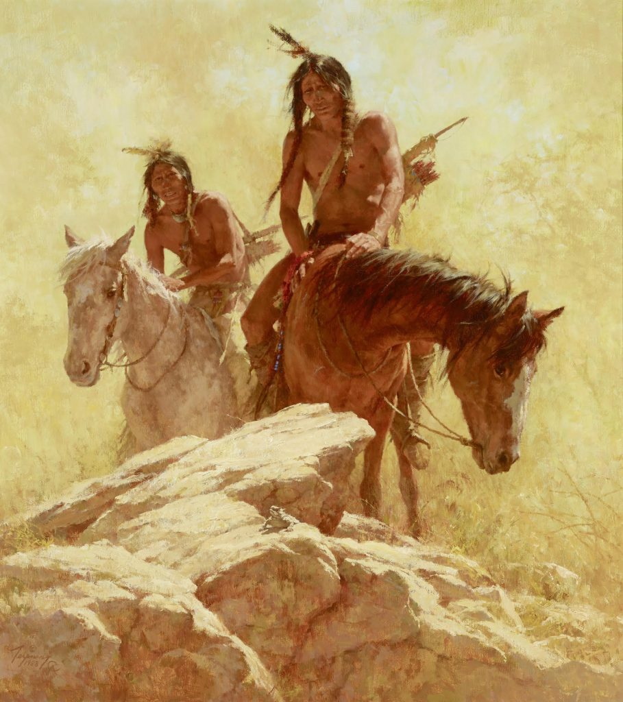 Finding the Buffalo, a 1988 painting by contemporary Western artist Howard Terpning.