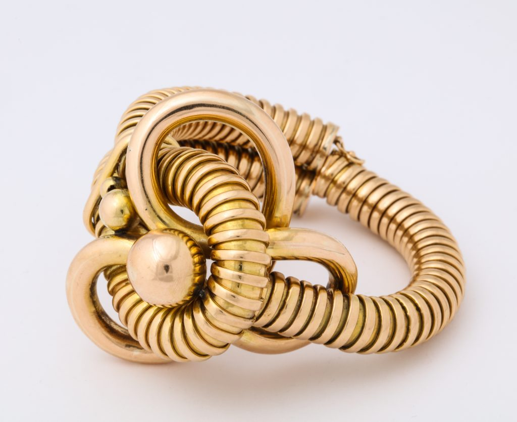 "A circa 1940s ""gas pipe"" gold bracelet, featured in Deceptively Modern Jewelry at ALVR's Manhattan gallery."