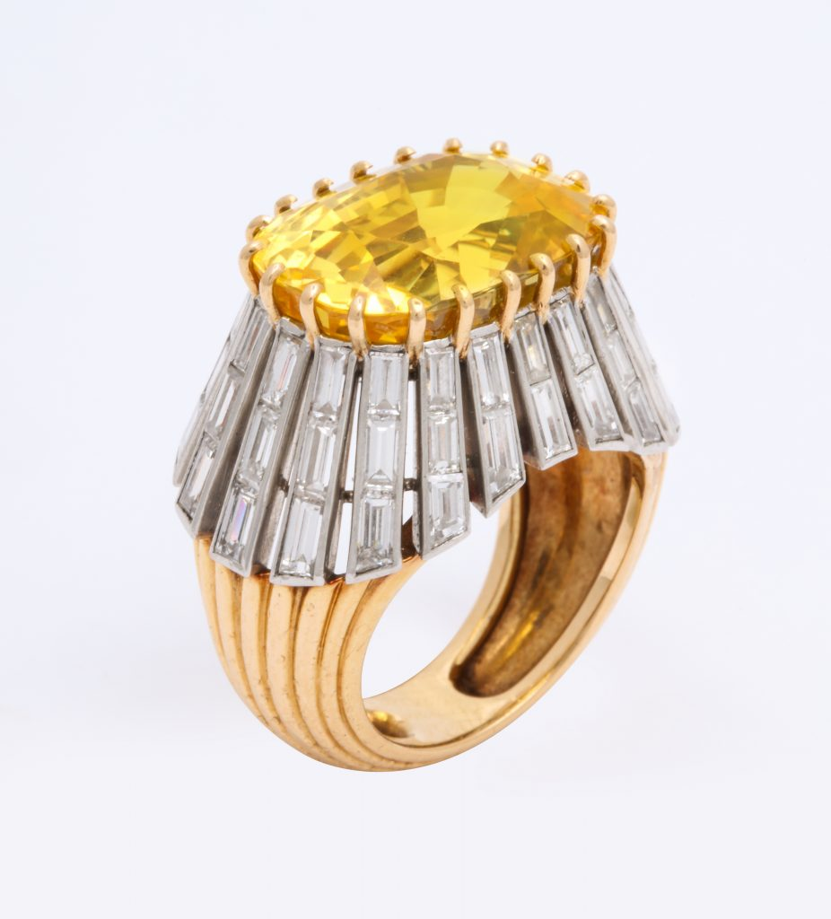 A diamond and yellow sapphire ring by Cartier Paris, one of 72 pieces in the Deceptively Modern Jewelry selling exhibit at ALVR.