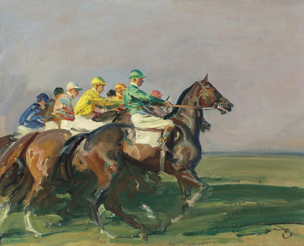 A Start at Newmarket, a circa 1937 painting by Sir Alfred Munnings.