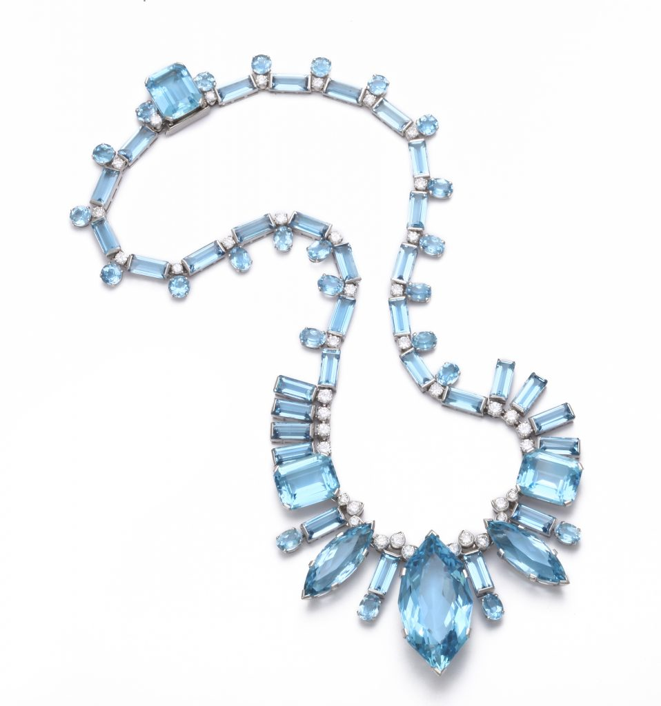 An aquamarine and diamond necklace from the Deceptively Modern Jewelry show at ALVR.