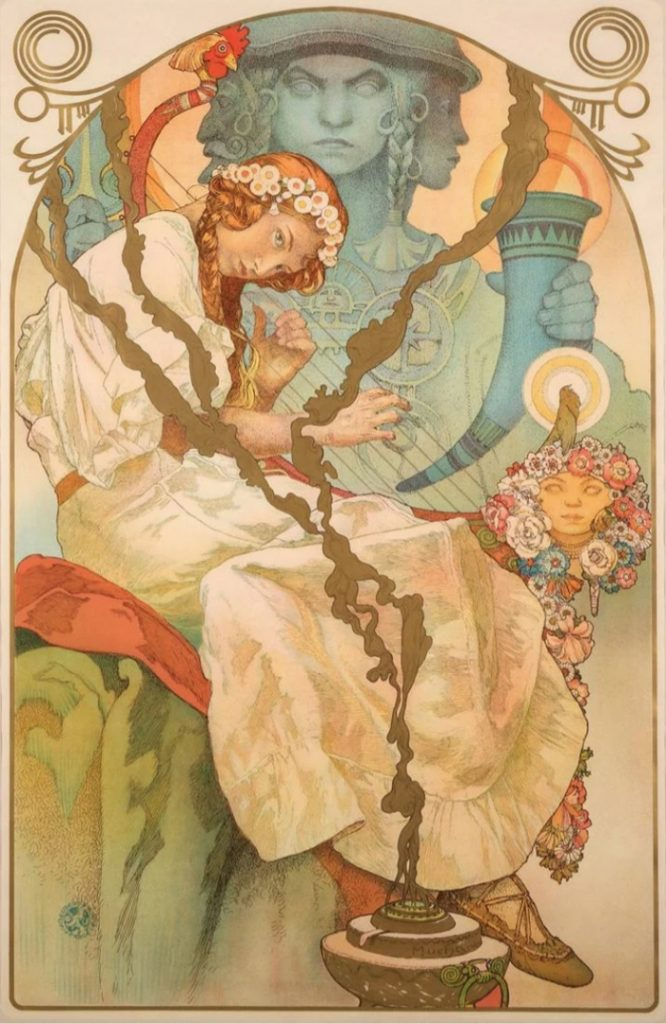 A 1930 poster for the Slav Epic, a series of monumental canvases by Alphonse Mucha. He based the poster design on the 18th painting in the show.
