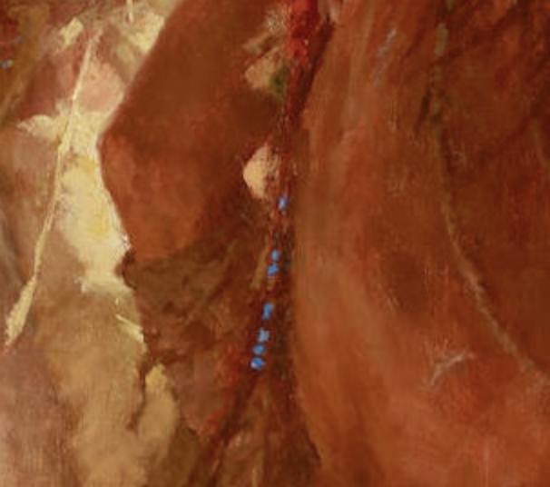 Detail shot of the blue beadwork dangling down the side of a Comanche scout's horse in Howard Terpning's Finding the Buffalo.