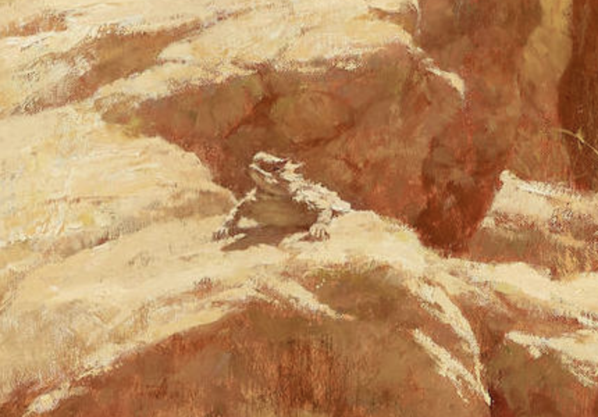 Detail shot of the horned lizard from Howard Terpning's Finding the Buffalo.