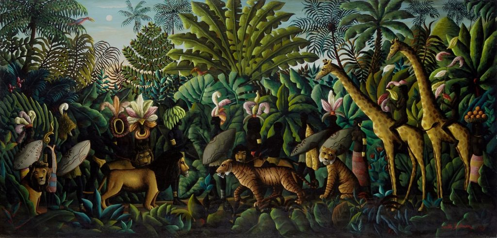 Entente Cordiale, a monumental late 1960s painting from Orville Bulman's Jungle series of works. It set the record for the artist at auction in May 2019.