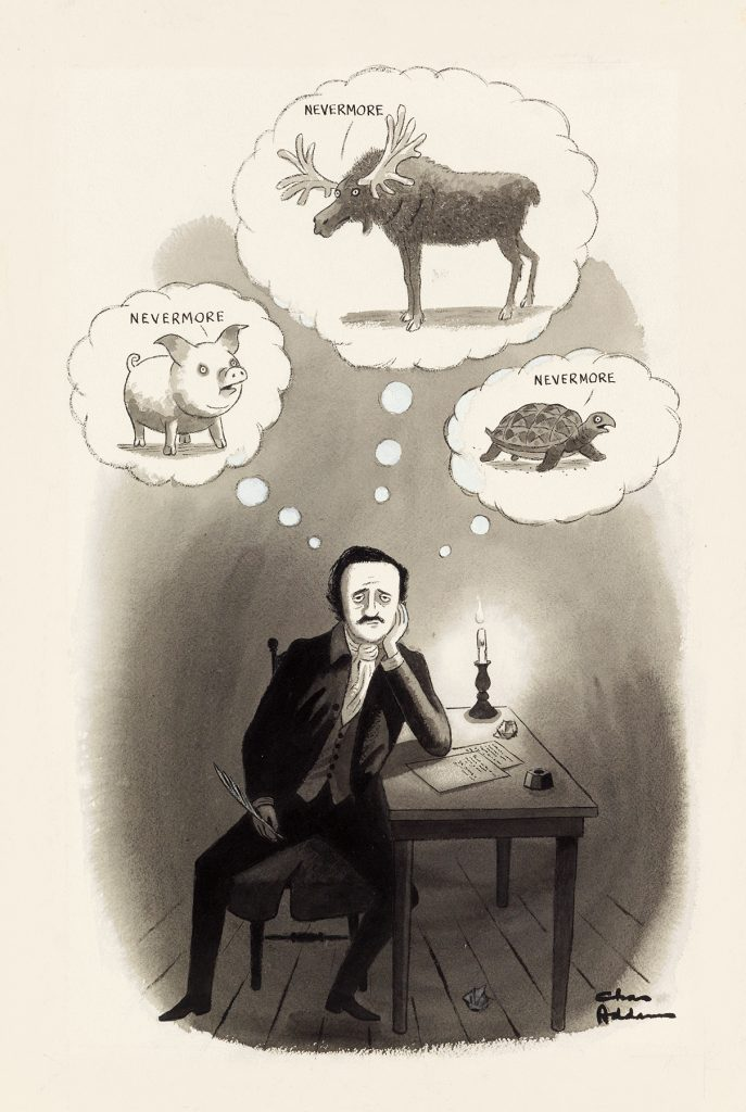 Original artwork for Nevermore, a Charles Addams cartoon about Edgar Allan Poe, which was published in The New Yorker in 1973.
