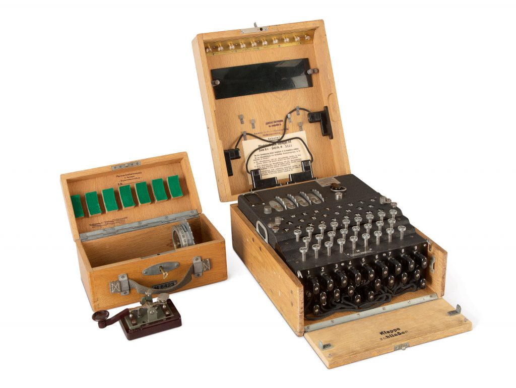 An M4, or four-rotor, Enigma machine, recovered from a bunker in Trondheim toward the end of World War II. It set a record for any Enigma machine at Sotheby's in December 2019.