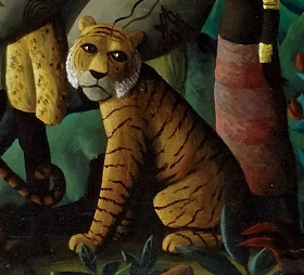 A detail from Entente Cordiale showing a tiger looking over its shoulder to make eye contact with the viewer.
