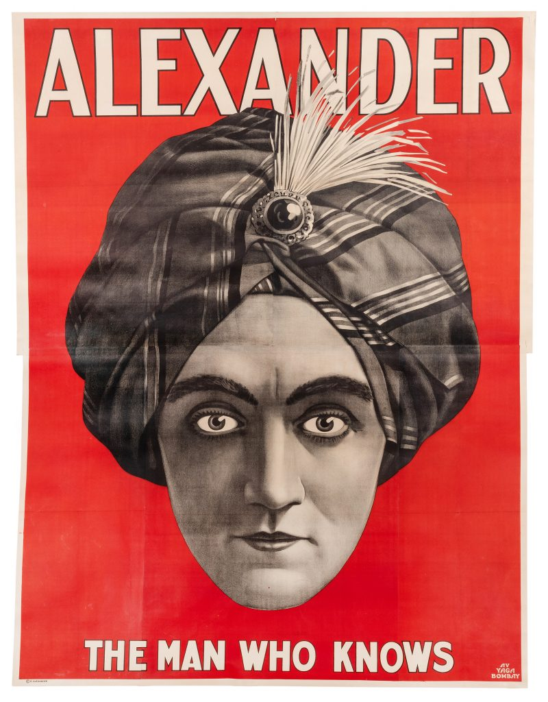 Alexander: The Man Who Knows, an eight-sheet vintage poster printed circa 1915 to tout the act of Alexander, an American performer who claimed to read minds.