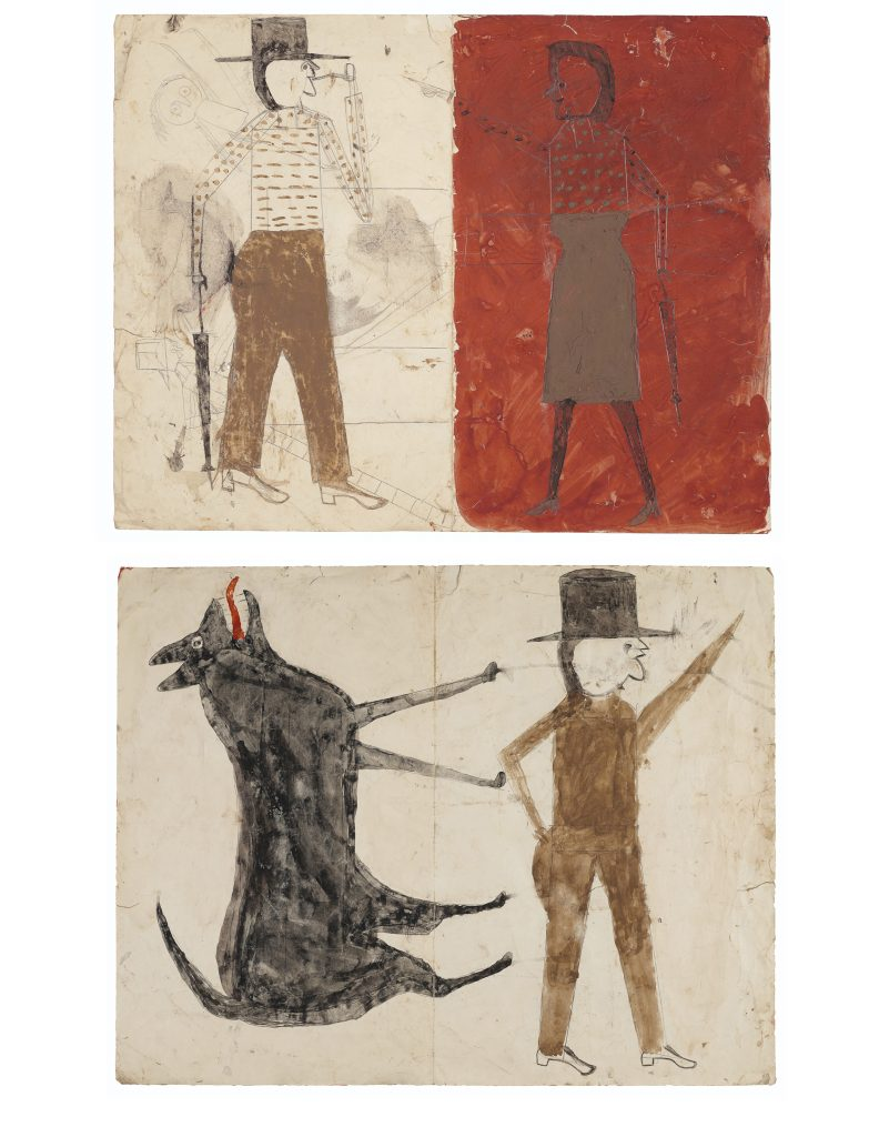 A double-sided work by the late Outsider artist, Bill Traylor. Above is Man on White, Woman on Red, and below is Man with Black Dog. The unusual piece could set a new world auction record for the artist in January 2020.