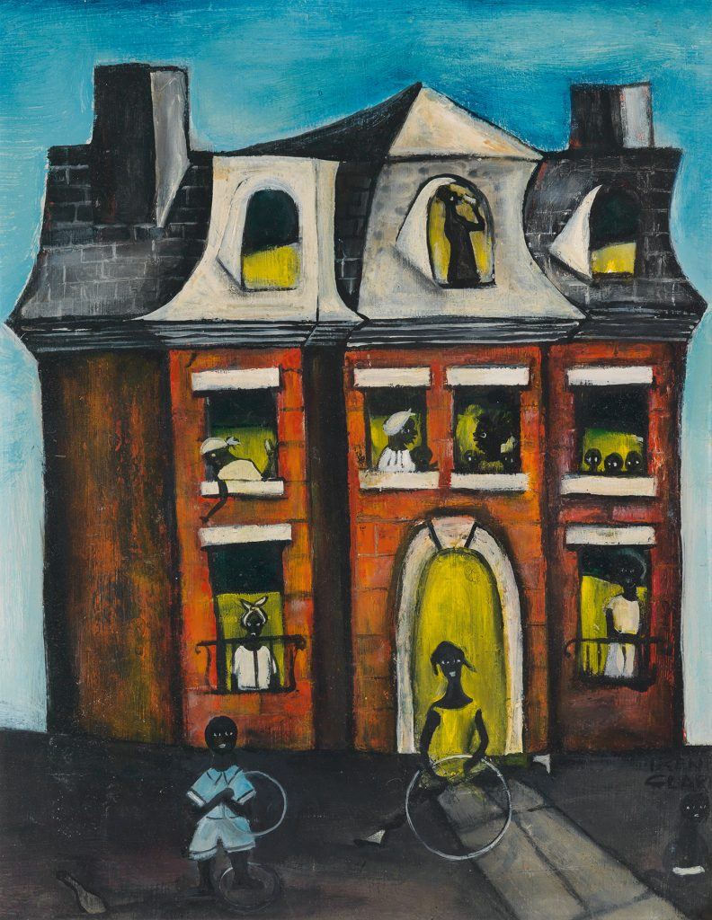 Mansion on Prairie Avenue, a mid-20th century painting by African-American artist Irene Clark. A similar work by the same artist is in the collection of the Art Institute of Chicago.