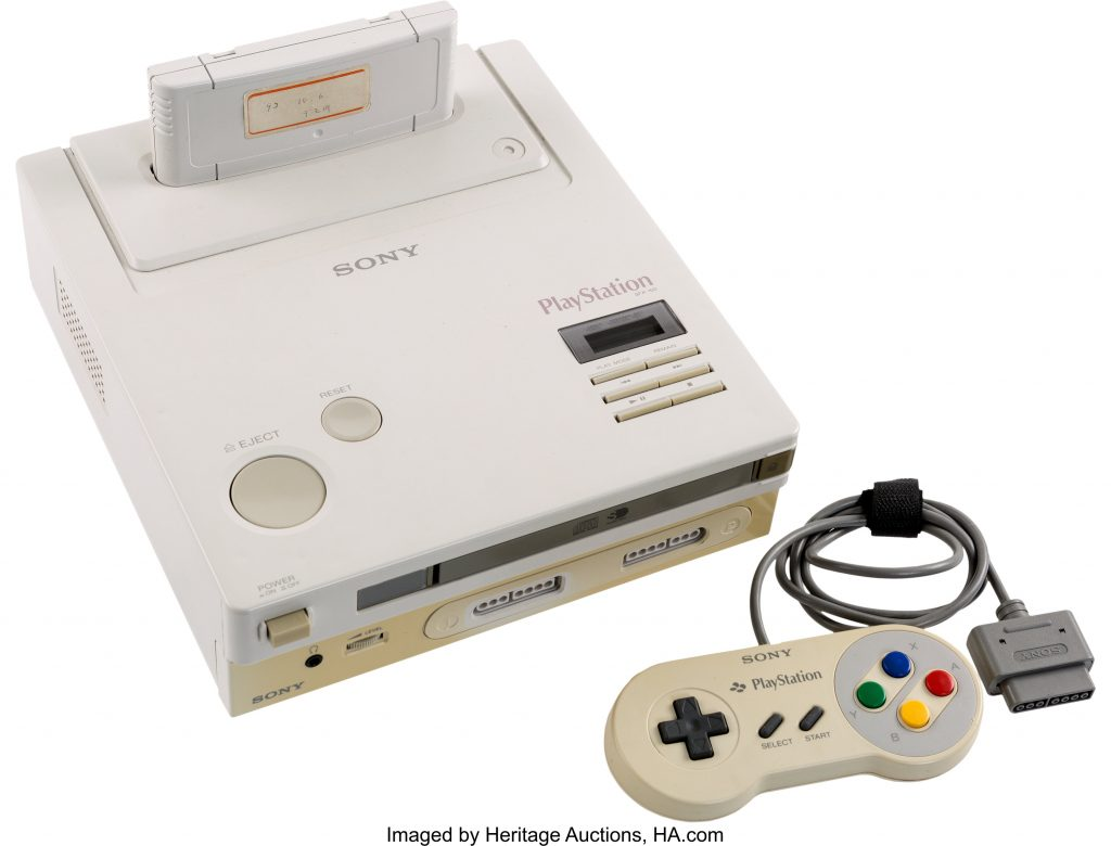 The console and controller for what appears to be the sole surviving prototype for the Nintendo PlayStation, a failed Sony-Nintendo project from the early 1990s.