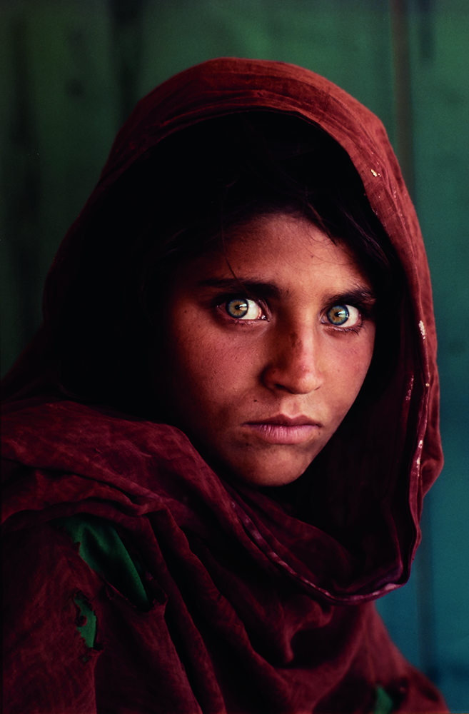 Afghan Girl (Sharbat Gula), a portrait of a young refugee shot in 1985 by Steve McCurry for National Geographic. A large print of the iconic image could sell at Skinner for $9,000.