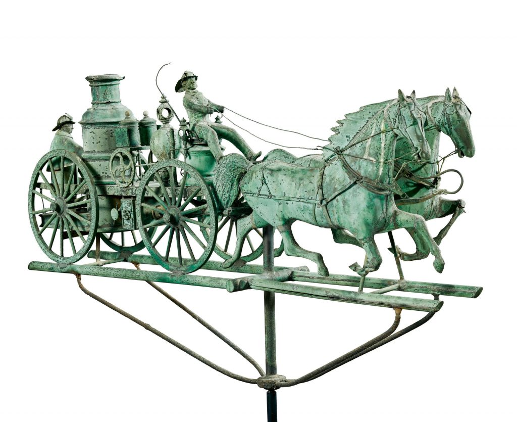 A circa 1870 three-dimensional weathervane depicting a pair of horses hauling a steam-powered fire engine. The handsome rarity fetched $437,500 against an estimate of $100,000 to $150,000.