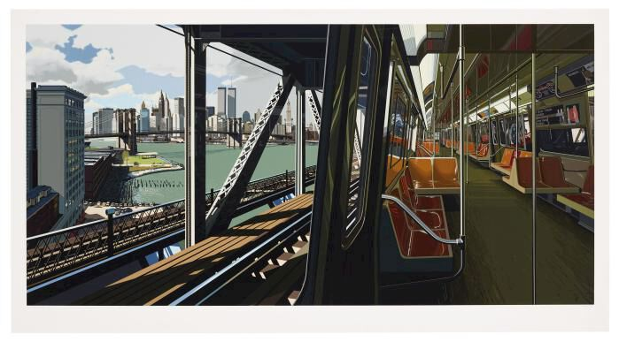 D-Train, a monumental print by Richard Estes, produced by the Domberger printing studio. The vision of New York from a subway car could command $50,000 at Christie's.