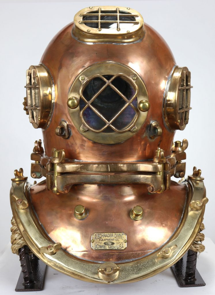 A Schrader five-bolt diving helmet, made by Schrader in the early 21st century after its own 19th-century design. It has never touched the water.