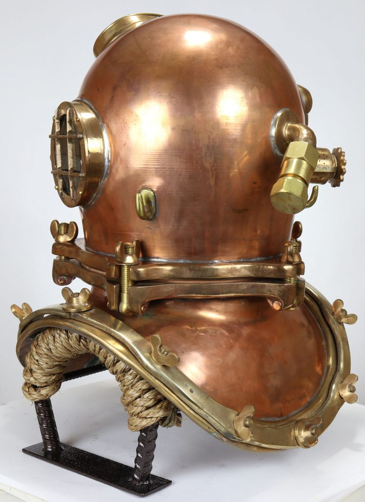 A full three-quarter rear view of the Schrader diving helmet.