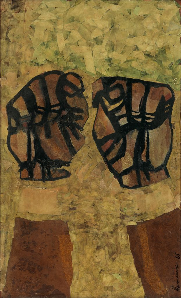 An untitled David Hammons work depicting shackles disappearing from the wrists of a pair of raised fists. The exceptionally early work by the noted contemporary artist could sell for $180,000 or more.