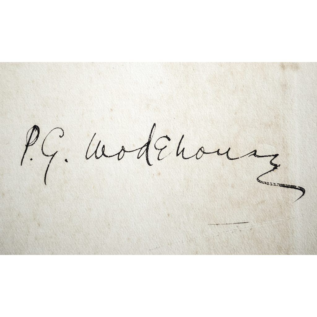 P.G. Wodehouse wrote prolifically, but didn't sign all that many of his books. This first edition of The Pothunters, his debut novel, is among the few that he autographed. He lettered his name with a fountain pen, which indicates that he signed the book not long after its publication.