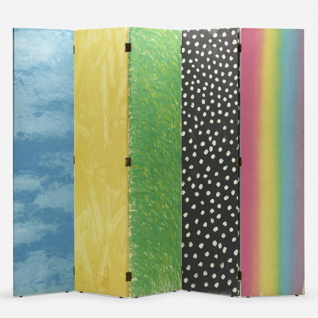 A limited edition screen, created in 1969 by Jim Dine. Shown in full, each of the five panels depicts a different aspect of the outdoors: a blue sky, a yellow field, green grass, a black starry night, and a rainbow.