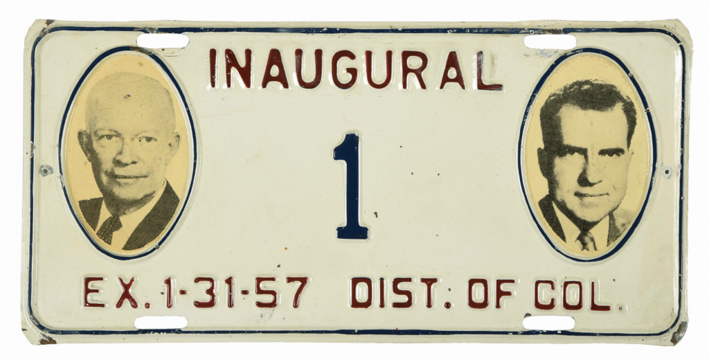 An inaugural license plate issued to President-elect Dwight D. Eisenhower in 1957. It's one of the only two inaugural plates to include photographic portraits, and both feature Eisenhower and Nixon.