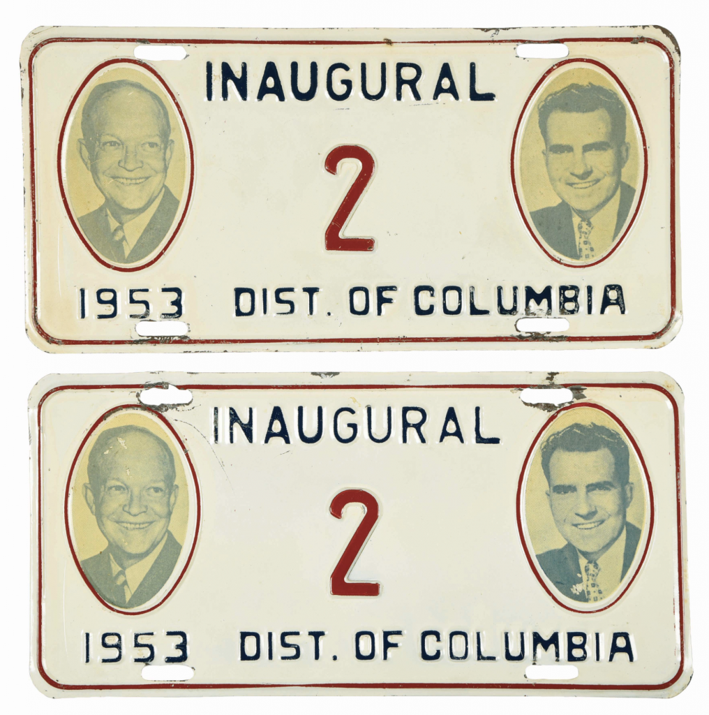 This pair of inaugural license plates was issued to Vice President Richard Nixon in 1953. Note that both men are smiling in their 1953 photos, and not smiling in their 1957 photos.