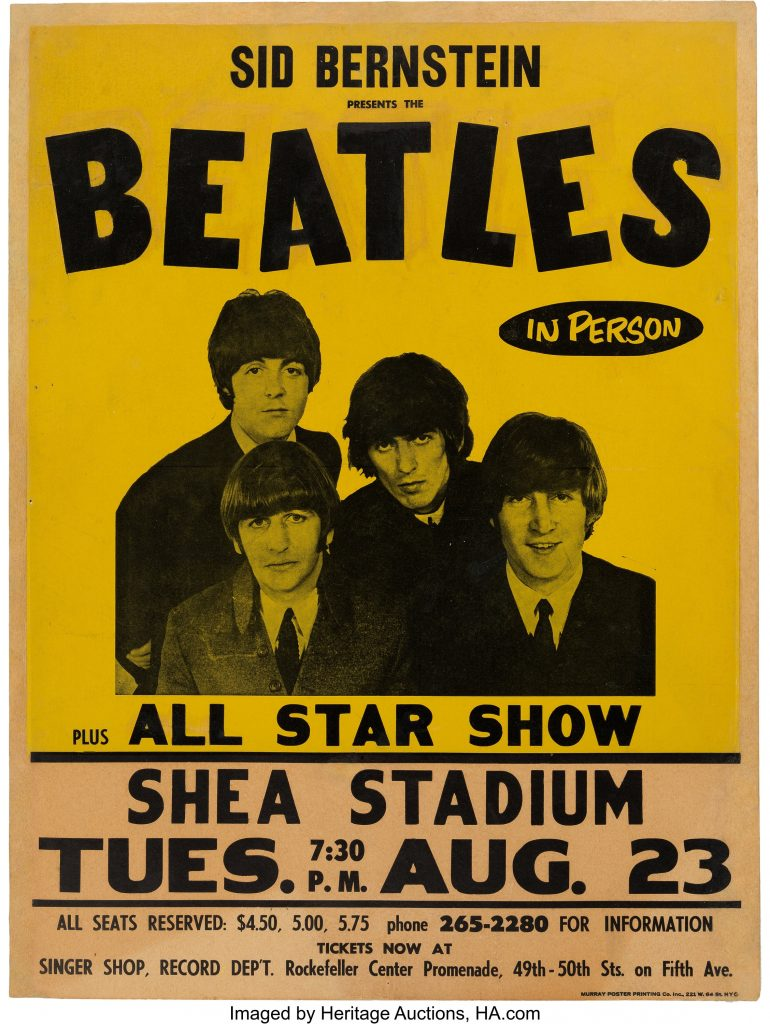 A 1966 Beatles Shea Stadium concert poster--one of a handful of surviving originals--set a world auction record for any concert poster at Heritage Auctions in April 2020.