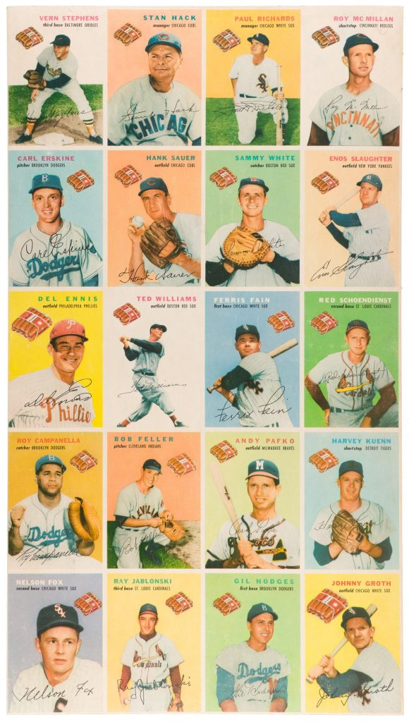 A complete set of 1954 Wilson Franks baseball cards on an uncut sheet could command $20,000.