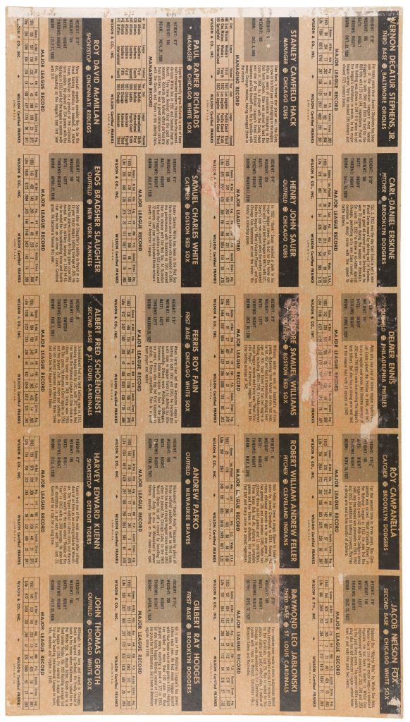 The reverse of the 1954 Wilson Franks uncut sheet of baseball cards shows stats and facts for all 20 players, as well as some minor damage to the paper.